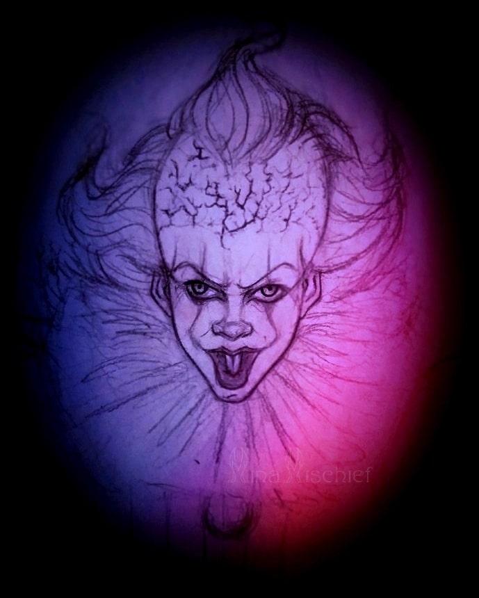 2019 - Le clown Pennywise, apparaissant dans l'œuvre <i>We all float in Derry</i>,  alors à l'état d'ébauche. Les premiers traits ont été exécutés au crayon de papier et au critérium.