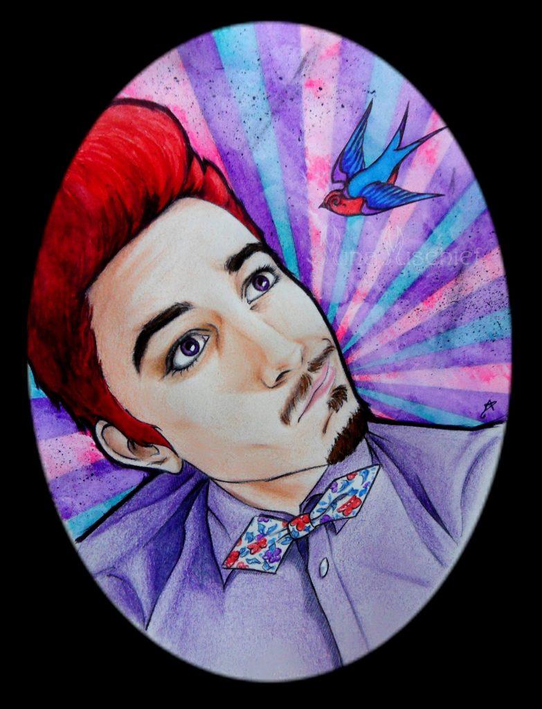 2013 - Portrait stylisé de Ken, ancien camarade de fac (esprit cirque-vintage-old school). Expérimentation de nouvelles techniques et recherche d'un style différent. 13 x 18 cm / Technique mixte sur papier.